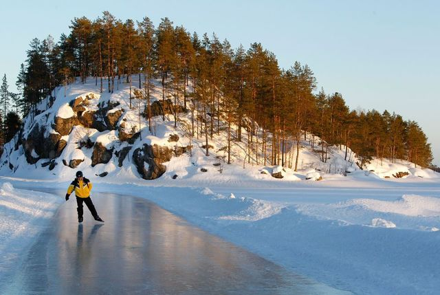 Ice skating on lake saimaa 23789
